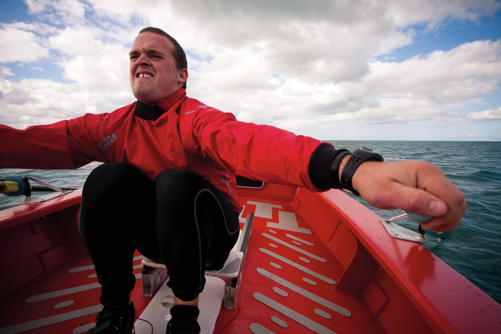 With a sliding seat and sealed cabin, Shaun Quincey's vessel is part rowing skiff, part lifeboat. With funding from the New Zealand Geographic Trust he is attempting to cross the Tasman—2300 km from Coff's Harbour to Taranaki—alone.