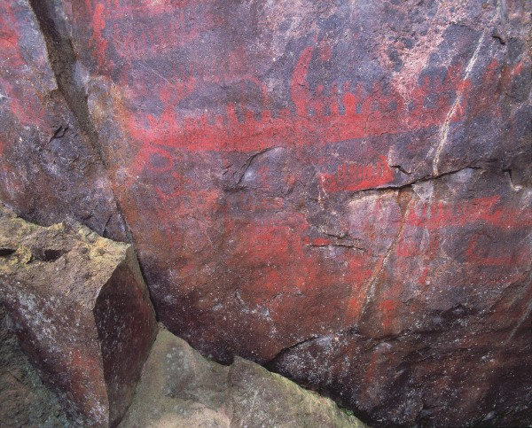 """This dramatic depiction of waka, buried under ash from the Mt Tarawera eruption of 1886, was excavated in 1962 by the Historic Places Trust. Such images, says Te Kenehi Teira from the Trust, clearly tell a story. """"A whole armada of waka going across the lake is associated with either battle or an eruption."""""""
