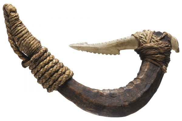 Larger hooks were made using strong wooden shanks with stout points made of bone or shell. Saplings and branches of trees were tied so they grew into the desired shape, and were then harvested when they reached a suitable size. The wood was carefully dried and hardened by being buried in earth beneath fires. Bone points, often made from human bone, were lashed firmly to a groove at the end of the shank with prepared flax (muka). Composite hooks were used to target large species such as sharks, groper and ling, but the traditional hooks rarely exceeded the breadth of three fingers. (128 mm length)