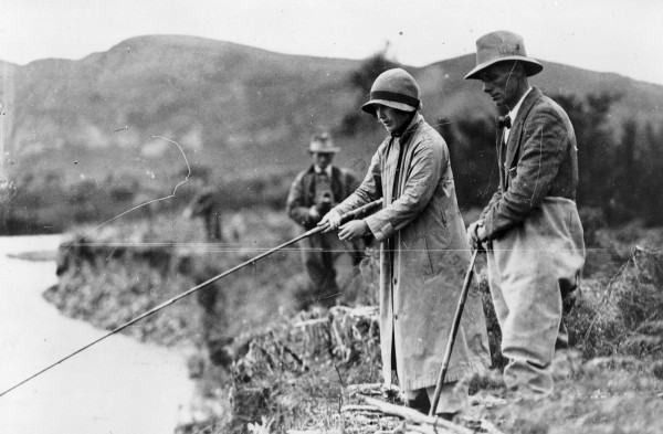 The Duke and Duchess of York (later King George VI and Queen Elizabeth), trout fishing at Taupo during their 1927 New Zealand tour. In the early 1920s, Ngati Tuwharetoa, concerned about wealthy anglers securing exclusive stretches of Taupo rivers, struck an agreement with the Crown that guaranteed access to Lake Taupo for all New Zealanders, and granted foot access to licenced anglers in return for payments to the tribe. It also formalised the tribe's wish that the Crown manage the Taupo fishery—now worth more than $90 million a year. The Tongariro-Whanganui-Taranaki DOC Conservancy is now in the unique position of managing an exotic species.
