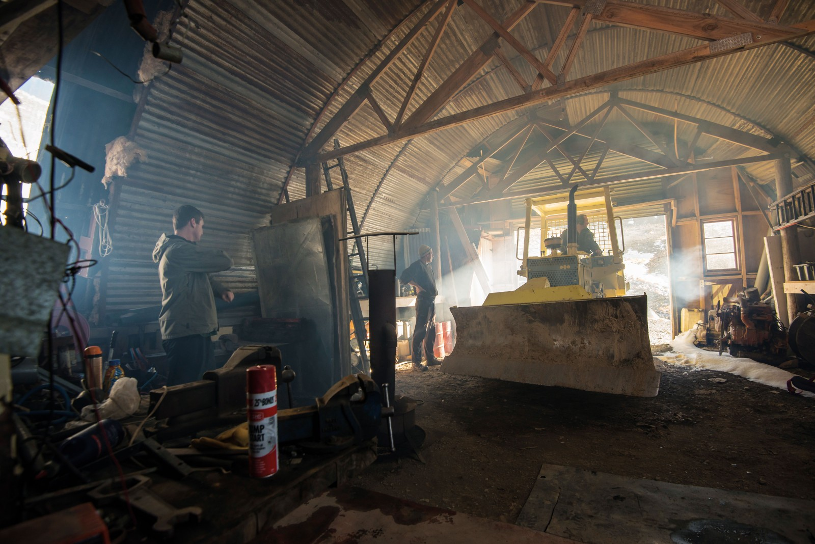 An ex-WWII Nissen army hut, salvaged and transplanted from a farm in Kurow, is the operational centre of the Awakino club, housing an assortment of machinery needed to run the ski field. Firing up the ancient but indispensable dozer involves persistence and plenty of 'Start ya Bastard' ether sprayed into the air intake to facilitate ignition.
