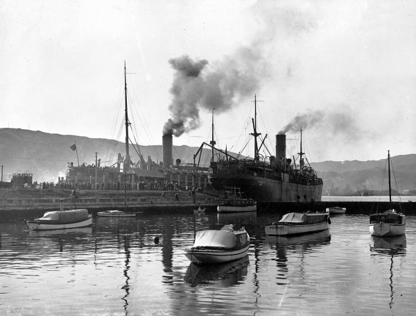 New Zealand troops board transports Moeraki and Monowai in Wellington for a destination that remained top secret. Days later, still swinging at anchor in the harbour, they were handed their orders. Invade Samoa. En route they fixed bayonets and received ammunition, then did battle with seasickness and imaginary enemies in drills on deck.