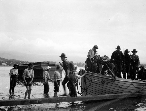The New Zealand Expeditionary Force met little resistance in Samoa. The harbour was swept for mines, the cutters disgorged their troops, and Apia was taken without a shot being fired. Only the wireless station offered a moment's opposition—it was booby-trapped with dynamite.