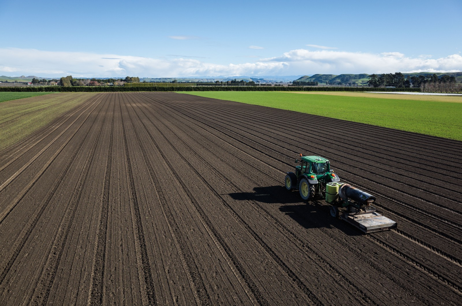 A tractor removes weeds prior to the emergence of an onion crop at True Earth Organic Farms in the Hawkes Bay, one of the largest producers of certified organic berry fruit and vegetables in New Zealand.