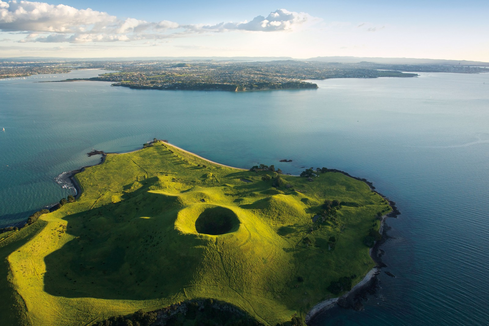 The verdant cone of Brown's Island/Motokorea was the result of a cluster of volcanic events in the Auckland field beginning some 34,000 years ago. The lack of trees due to centuries of cultivation (it was one of the earliest European settlements in the Auckland area, purchased by William Brown and Logan Campbell in 1840), highlights the signatures of volcanic activity—a large scoria cone with a deep crater, a tuff ring forming the cliffs in the northeast, and the upper portions of lava flows that run into the sea.