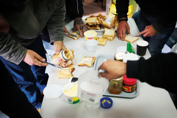 A breakfast at Wellington's night shelter (far right), courtesy of DCM, provides an alternative to the Wellington soup kitchen, which is run by the Sisters of Compassion and serves on average 30–40 breakfasts a morning. All such meals rely heavily on food donations, either from the public or from food recycling charity Kaibosh.