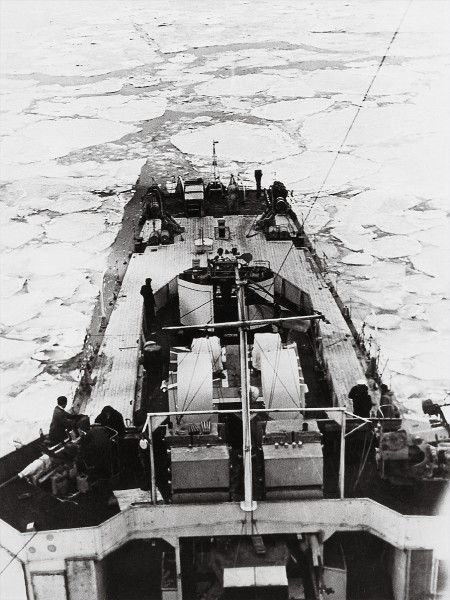Kiwi soldiers and sailors were initially poorly equipped to cope with the bitterly cold Korean winters. Here Taupo, one of six New Zealand frigates to serve in Korea, pushes through pack ice off the Korean coast during the winter of 1951-2. One of the ships' tasks was to rescue downed airmen-speed being essential in such harsh conditions.