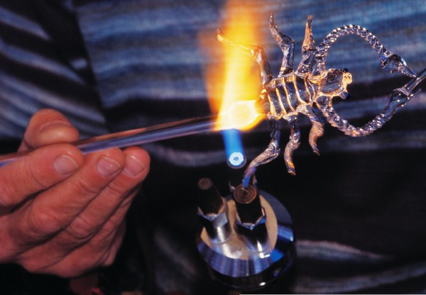 The diversity of creative talent on display is wide,ranging from knitting to metalwork. In Geoff Brunker's expert hands, a blob of molten glass is transformed into an exquisitely detailed scorpion in a matter of minutes.