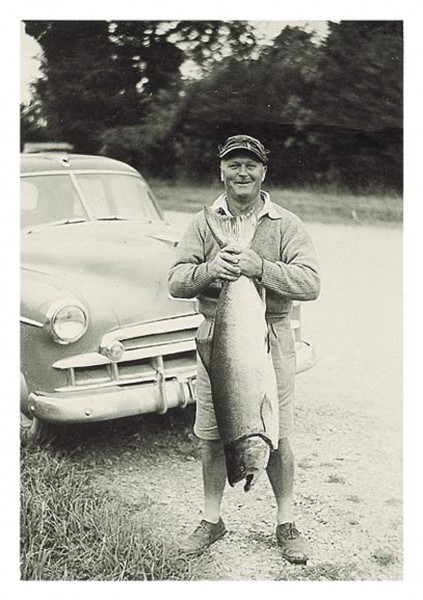 Angling is a family tradition for salmon fisheries officer/writer/photographer Ross Millichamp. In these snapshots from the family album, Ross's grandfather, Ted (left), grandmother, Hazel (right, with a 35-pounder taken from the Rangitata River in 1932), and father, Roger (middle, on the left), display their catches. It is estimated that a quarter of the male population of Canterbury hold fishing licences.