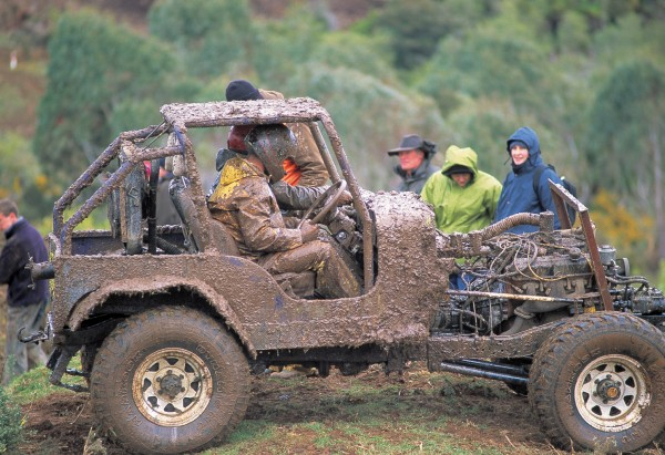 For some people, mud never loses its attraction. At a four-wheel-drive meet on a farm near Curio Bay getting covered in the stuff is par for the course.
