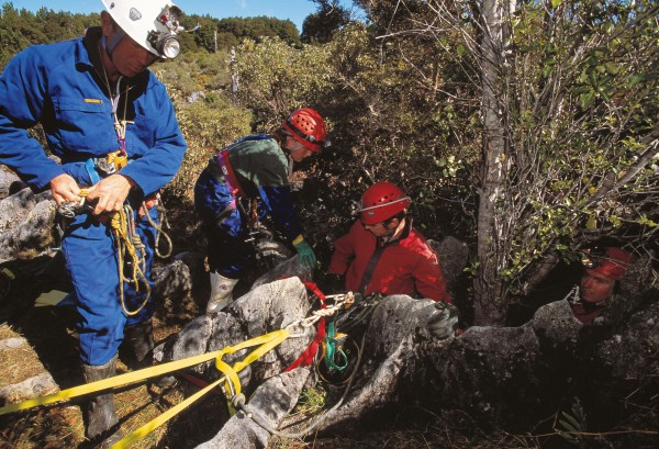 """Without landowners granting us access, our group could not exist, as most caves in this region are on private property,"" says Andy Bagley (far right), president of the Nelson Speleological Group. Taking advantage of a covenant affording access to New Zealand's deepest caves, members of the 40-strong association (including, from left, Gary Willis, Laura Hart and Steve Foote, as well as Bagley) plan sorties from a hut on Takaka Hill to explore an environment that is also home to colourful native parakeets and Powelliphanta, the giant carnivorous snail."