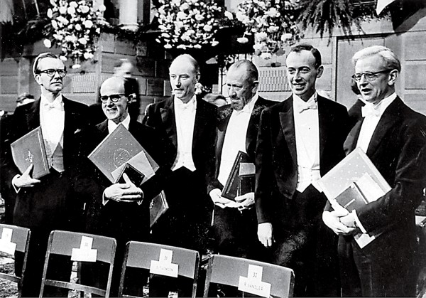 Among the Nobel laureates in 1962 were (from left) Wilkins, Max Perutz (who with Kendrew shared the chemistry prize), Francis Crick, John Steinbeck, James Watson and John Kendrew.