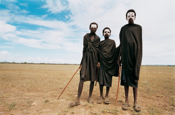 A group of Masai boys in Olduvai, Tanzania, undergo a three-month period of preparation for their circumcision.