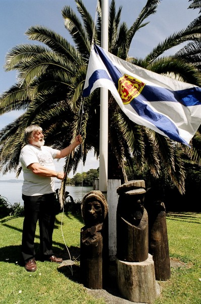 Douglas Chowns helps keep the Celtic flame alive by raising the Nova Scotian flag each day at his property in McKenzie Bay. Many early settlers in the Heads area—and Waipu, to the south—were Nova Scotian, including McKenzie himself. Douglas and his wife, Meg, live in McKenzie's homestead, built in 1857.