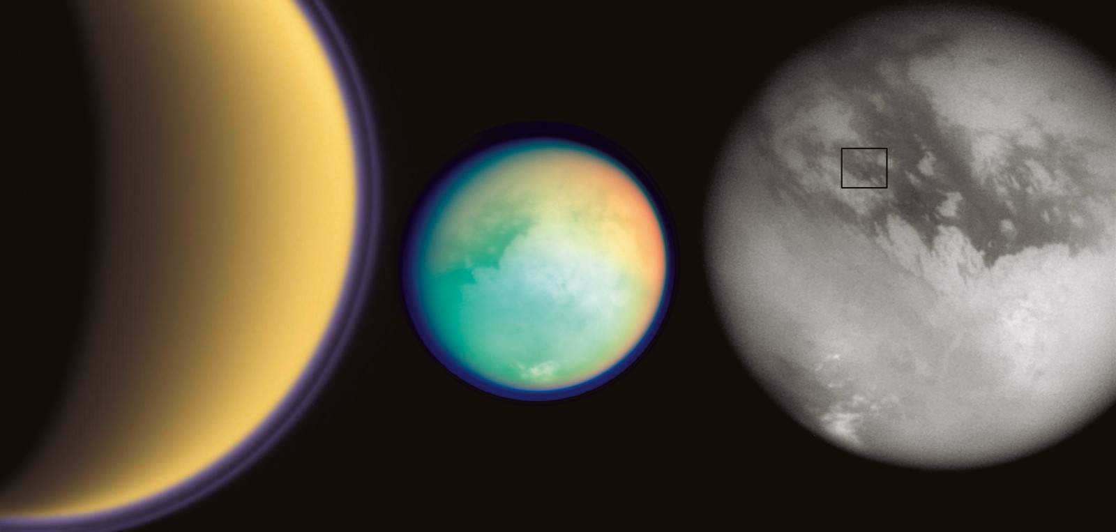 The purple haze of Titan's atmosphere has two layers (left), most clearly visible at the moon's limb. At high altitude—hundreds of kilometres above the surface—solar ultraviolet light breaks down nitrogen and methane molecules. The products react to make complex organic molecules containing carbon and hydrogen, which combine, forming small particles. As these particles collide, they coalesce into heavier particles, which sink, creating the main haze layer in the lower atmosphere. Surface detail becomes apparent through four fi lters (middle). Reds and greens represent infrared wavelengths absorbed by atmospheric methane, while bright and dark surface areas are revealed in a more penetrating infrared band. In this view and another (right), Titan's visual resemblance to Earth is striking. A bright continentsized feature known as Xanadu is clear in both images, and highly refl ective clouds hover over the South Pole. The box imposed on Titan shows the proposed landing site for the probe Huygens.
