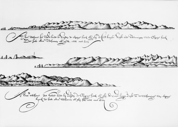 "The first known drawings of New Zealand: Tasman's ""high elevated land"" to the west of Farewell Spit as seen from the sea."