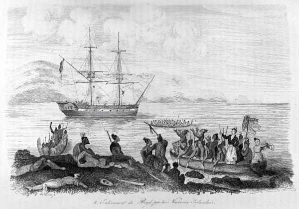 The capture of the Boyed in Whangaroa Harbour in August 1809, was imaginatively depicted in Dumont D'urville's 1839 account of his voyage around the world. Some of the Boyd's crew were killed while on a work party ashore, but the passengers and remaining crew were despatched while the vessel was anchored near Peach Island, seen in the opening paragraph.