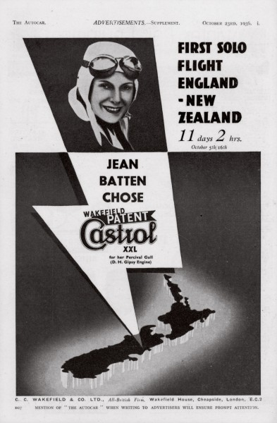 One of Jean's major sponsors was Lord Wakefield of Castrol oil. With some of the £400 he gave her before her first successful flight to Australia, she bought a Gipsy Moth. He was able to win much publicity once she became famous.