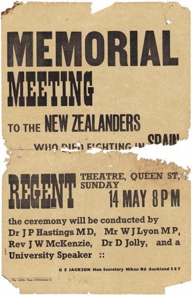 A Spanish Medical Aid Committee poster from 1939, advertising a public meeting to be addressed by, among others, the newly returned New Zealand doctor Doug Jolly.