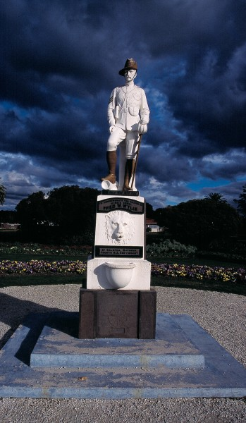 The soldier in Rotorua's memorial to the Fourth New Zealand regiment is wearing gumboots, as do ex-keepers of the Cape Egmont lighthouse, Bryan and Janet Richards (below).