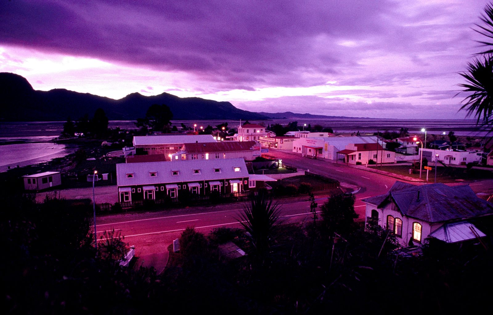 Collingwood, commercial centre of western Golden Bay, at dusk on an autumn evening.
