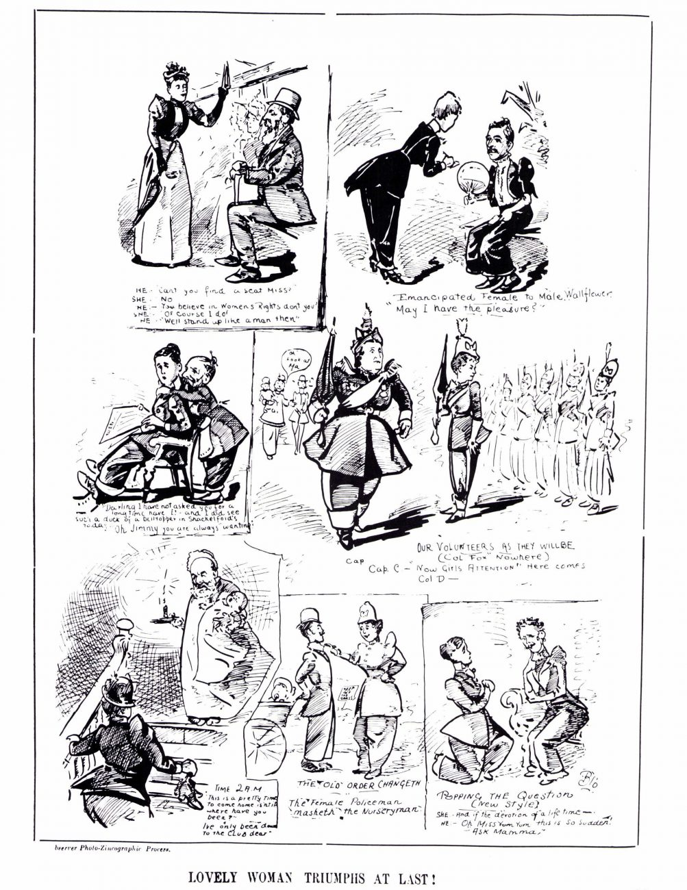 The struggle for the vote was part of a wider campaign challenging many other aspects of women's customary role in society. Opponents argued that women's emancipation would lead to the subjection of men, and the liberated woman was lampooned as having stepped into men's shoes.