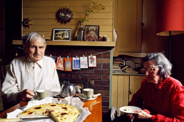 "Steve Straka and his wife Eva (nee ScholJum) enjoy a traditional Bohemian treat: kochen, made from cheese curd. ""Don't know if I had kochen before I was one, but I've had it everyone of my last 80 years,"" confides Steve. Eva has Jived in this house since childhood; her parents built it around the time of the First World War."