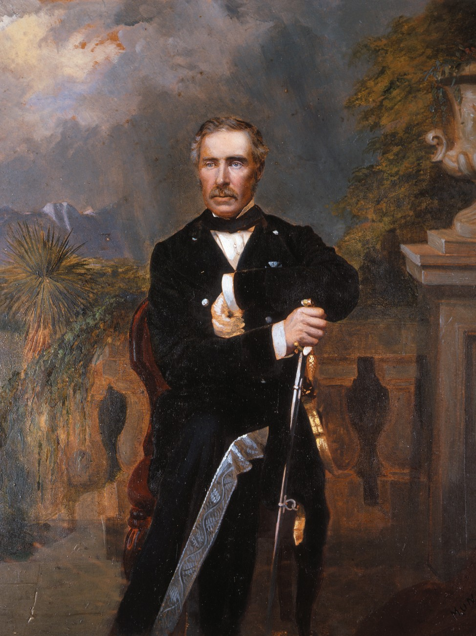 """Sir George was his own political party all through life, so far as he was a politician at all,"" wrote biographer James Milne. Grey's autocratic bearing as the ""Bonaparte of the South Seas"" is well captured in this hand-coloured photograph, taken in the 1860s during his second term as governor. The background painting contains details from Mansion House."