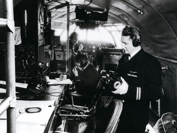 Flying boat captains such as Ian Patterson (seated at the front) needed many skills besdies those normally demanded of a pilot. They had to be able to navigate over the open ocean and, due to the low altitude at which they flew, to skirt around any bad weather they ecountered.