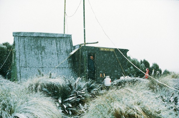 An iron hut is the only shelter the team has from the gales that Campbell Island unleashes on its inhabitants.