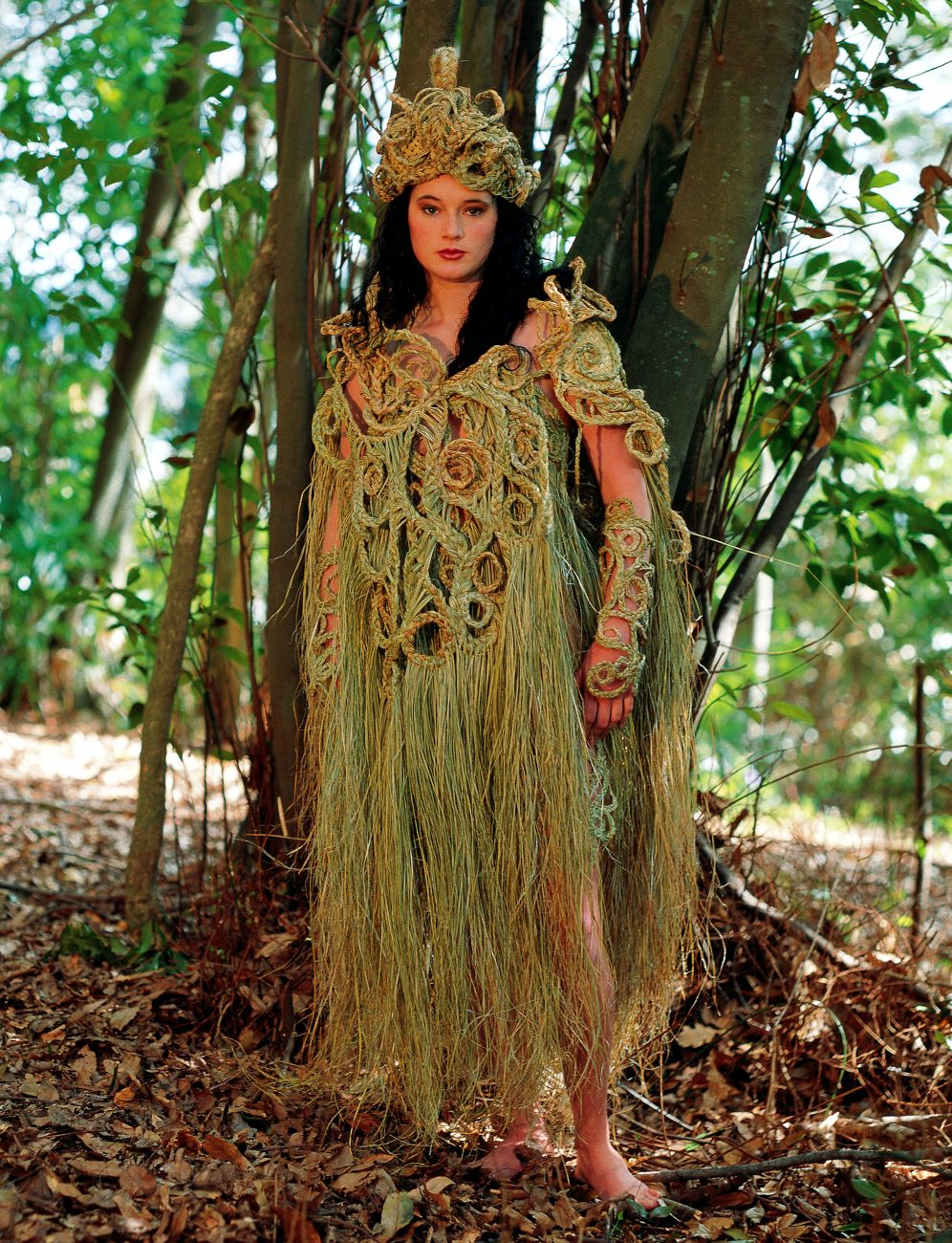 """Moko,"" designed for the 1995 Nelson Wearable Art Awards by Debbie Price and modelled by Debbie Perham, won several prizes, and showed that the daysof harakeke as haute couture are far from over. When flax's many virtues are combined with human flair, who can foresee the results?"