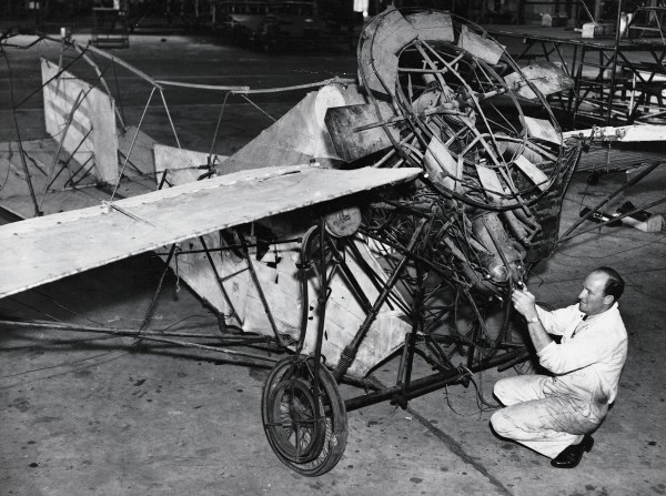 "Thirty years after his first aviation experiments, Pearse was seized with the idea of a ""private plane for the million[s]."" Designed for vertical take-off and landing, his Utility Plane would open the skies to everyone. By the time his patent was lodged in 1943, however, many of the machine's technical innovations had become outdated."