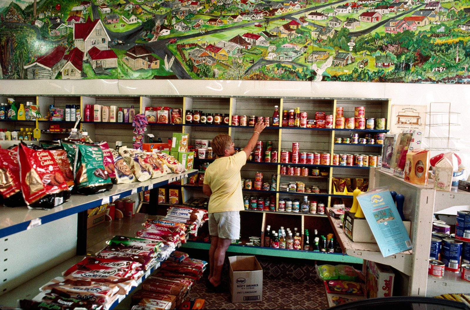 """We try to stock a little of everything,"" says Bernadette Murdoch, who, with husband Keith, runs the Blackball General Store. Opened in 1904, it features a 15-metre mural of the town painted by local artist Jerry Fulford."