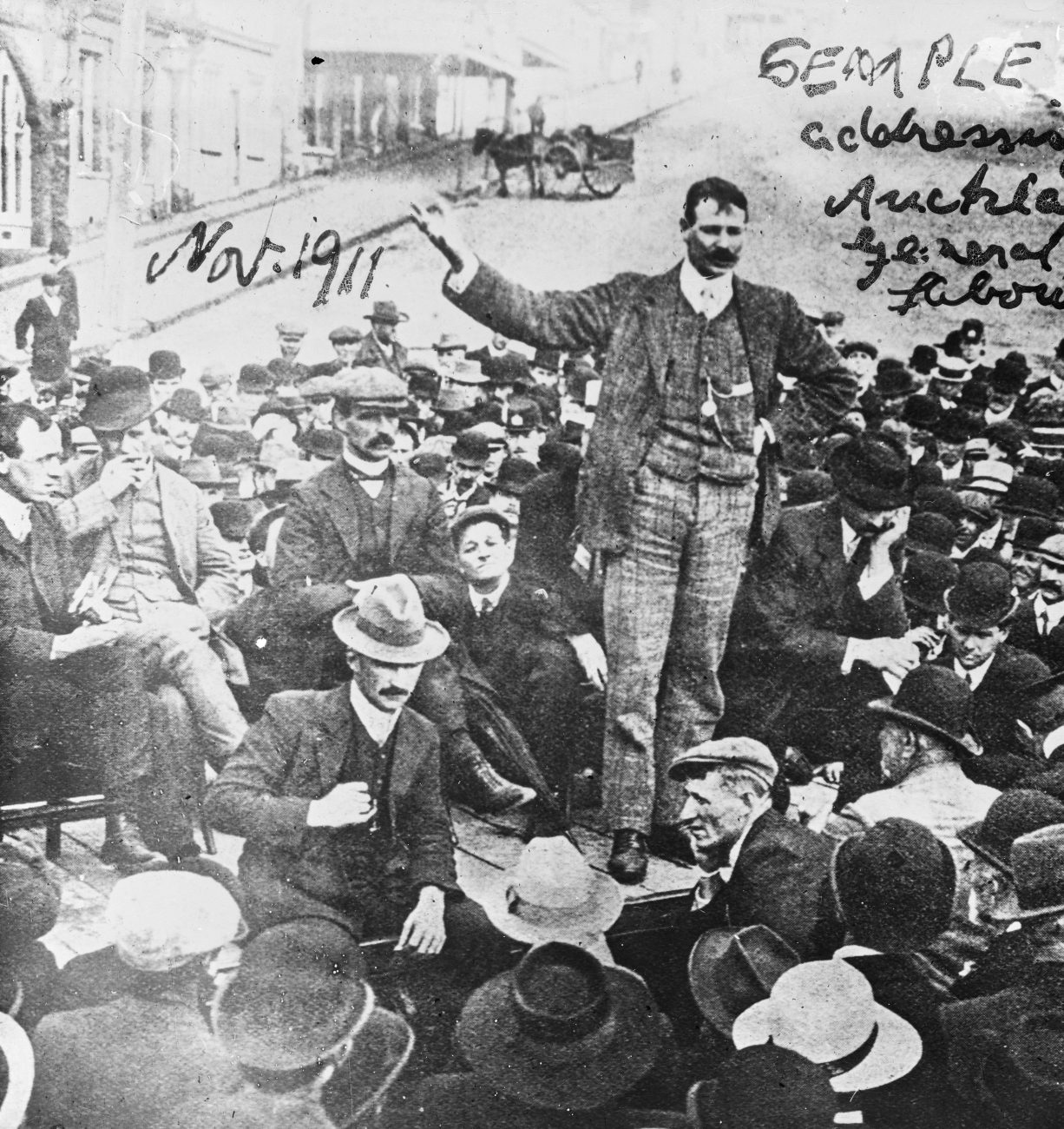 Semple, photographed in Auckland preaching the unionist gospel, later became Minister of Public Works in the first Labour government.