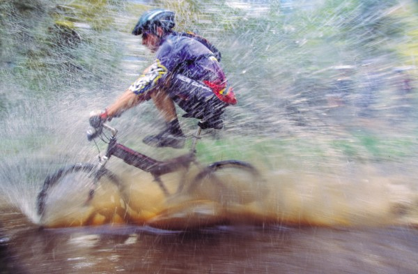 "Mountain-bike racing takes three forms: cross-country, downhill and dual slalom, and the sport has attracted such a following that it is now an Olympic event. The downhill component is the most punishing—a spill at 70-80 lm/h can snap a clavicle quicker than you can say ""end over end."""