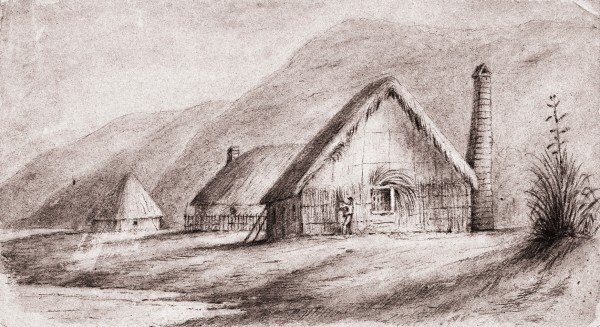 Hawkshead, Swainson's Hutt Valley residence, looked rather fine in 1845 when this sketch was drawn, but the house was severely damaged by fire in early 1848 and then by a large earthquake in October of that year. In 1855, the year of Swainson's death, the great Wairarapa earthquake destroyed the house again, although it is uncertain how extensively it had been rebuilt from the disasters of 1848.