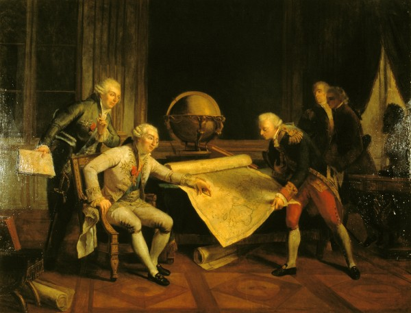 Europeans who set out to explore the Pacific entered a vast and little known domain, potentially replete with riches, wonders and danger. As with space exploration in our own age, the business of exploring the globe attracted great national enthusiasm. Here Louis XVI is depicted giving final instructions to Compte de la Pérouse, in 1785. La Pérouse's expedition ended in shipwreck and tragedy in 1788—an outcome which caused great upset in France.