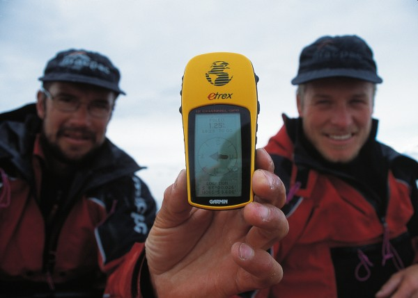 """What wouldn't Scott or Shackleton have given for one of these-a hand-held GPS unit, indicating the end of the quest: the Antarctic Circle? """"We were miles from anywhere, feeling vulnerable in the middle of a vast bay, but we paused for a moment to enjoy a nip of whisky we had saved for the occasion,"""" recalls Mark Jones."""