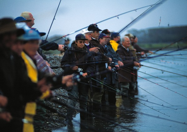 The annual salmon fishing contest, anglers stand shoulder to shoulder at the mouth of the Waitaki. Others prefer the less crowded reaches upriver, hoping that some prize fish make it past the gauntlet of lures.