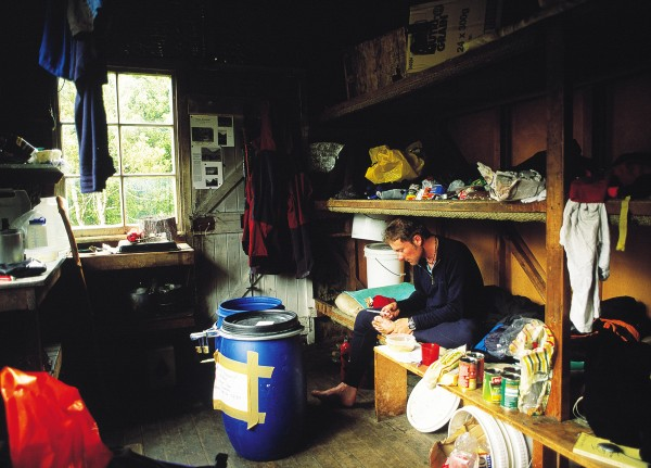 St Winifred Hut, Havelock Valley, central Southern Alps, with supplies for a long tramping trip.