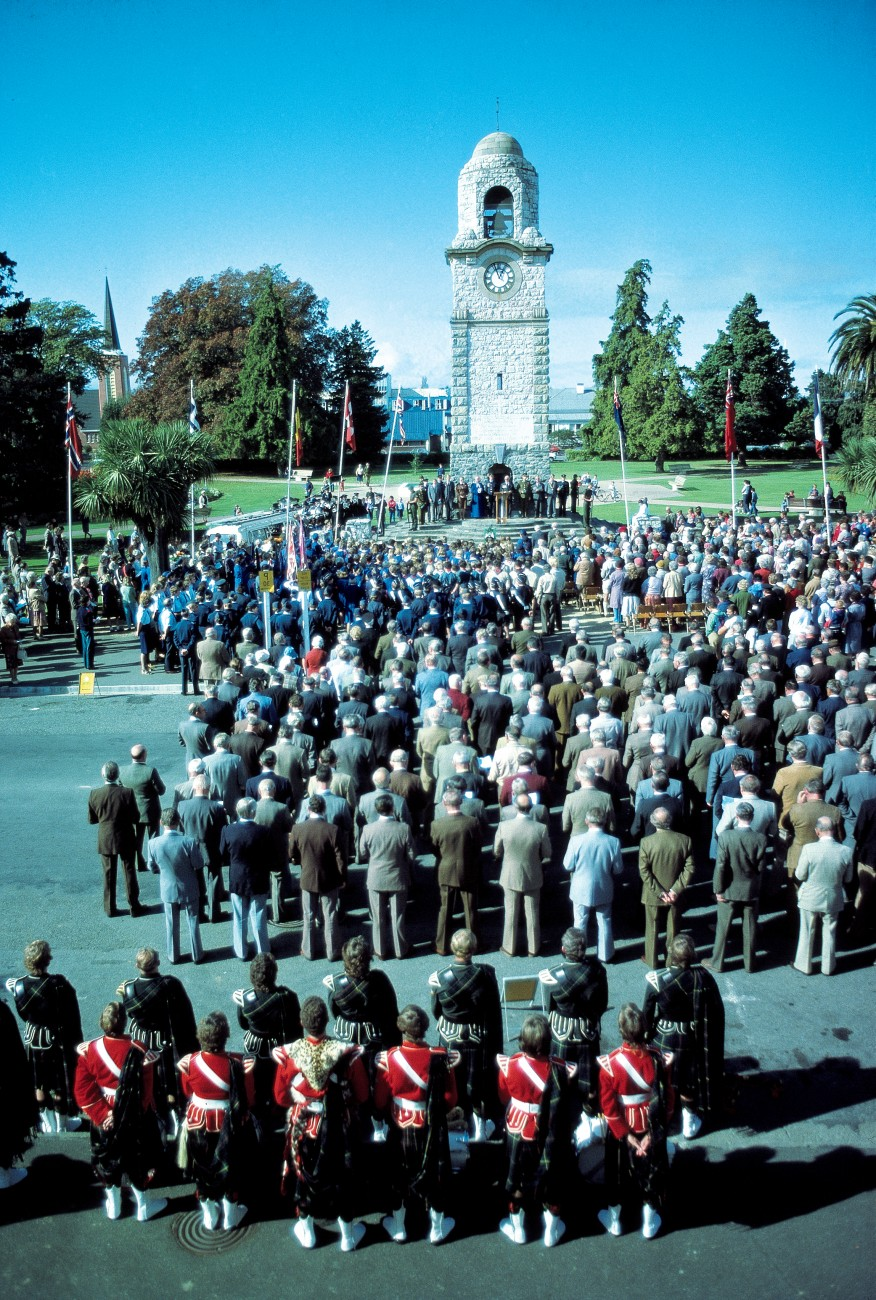 Blenheim built a dignified clock tower using stone collected from all over the district to honour its dead, Wanganui erected a very distinctive tower on Durie Hill and Paeroa constructed an imposing cenotaph. Most memorials remain a focus for annual Anzac Day services.
