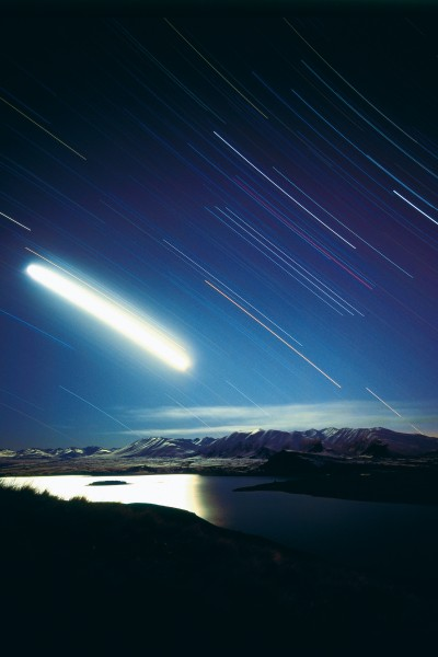 The Two Thumb Range is bathed in the spectral light of a time-lapsed moon, casting Motuariki Island on Lake Tekapo into high relief. Along with a clear view of the stars, Mt John is also notable for spectacular views of the surrounding terrain.