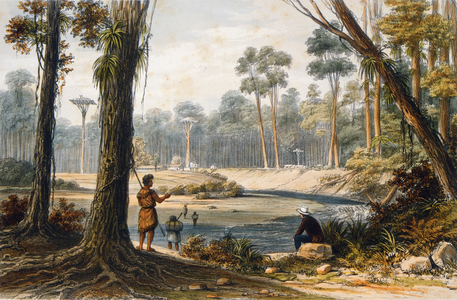 "Four years before he signed on as draughtsman for the Beagle voyage, London-born travel artist Augustus Earle lived and painted in Northland. He sketched this scene, depicting legendary Nga Puhi chief Patuone's ""country residence"", during a journey in 1827 from the Hokianga Harbour to the Bay of Islands, through thick kauri forest. Earle described being ""kindly entertained by the chief"", and noted that Patuone's crops of kumara and maize ""arrived at a perfection never before witnessed"". Darwin, by contrast, was uncomplimentary about Maori life."