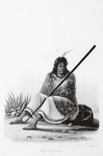 "Edmund Paris, artist on board French navigator Cyrille Laplace's Pacific expedition, romanticised the Maori he drew during his stay in the Bay of Islands in 1831. His ""jeune fille"" is alluringly déshabillé while his ""chef de guerriers"" looks uncharacteristically pensive. Darwin, following in the wake of La Favorite four years later, considered that Maori would be the losers in the social struggle for existence with immigrant Europeans."