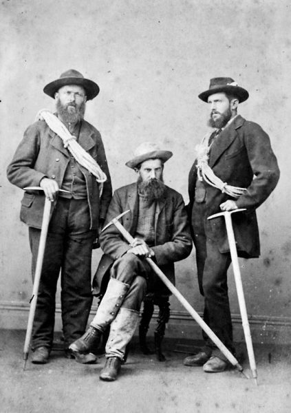 Green's party pose for a photograph by Edmund Wheeler and Son of Christchurch. With his Swiss guides, scientific proclivities and penchant for the sublime, Green fitted the mould of the Victorian gentleman mountaineer. Early mountaineering in New Zealand was inspired by this tradition, but soon developed its own flavour, imbued with a pioneering spirit and the hardships of early exploration.