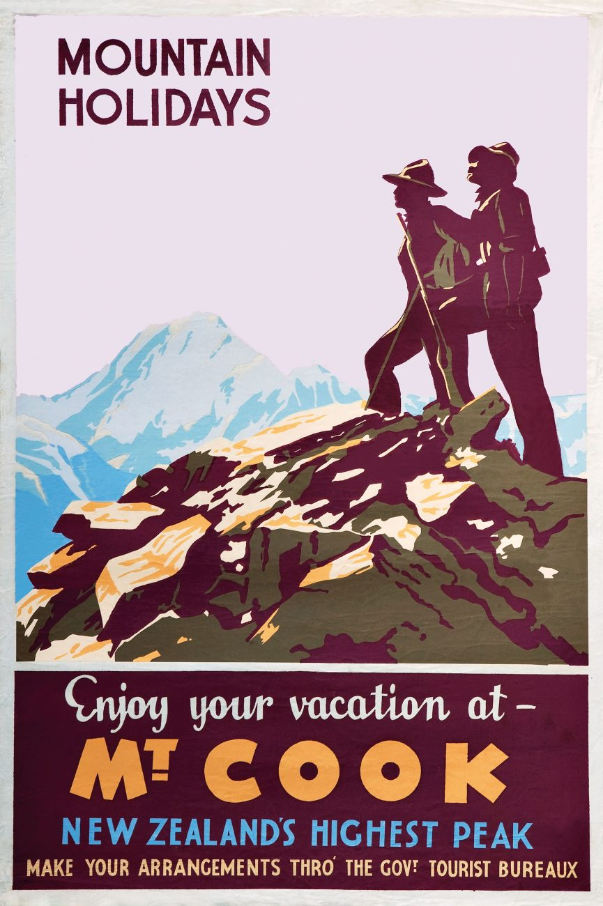 The New Zealand Railways Magazine was an important vehicle for the promotion of mountain tourism in the 1920s and 30s. Catching on to the new wave of enthusiasm for tramping and climbing, articles enthused about the activities of mountaineers who were exploring new areas and opening them up to tourism. Publicity produced by the Railways and Tourist Departments utilised the image of the mountaineer to promote the revitalising, health-giving benefits of mountain holidays .