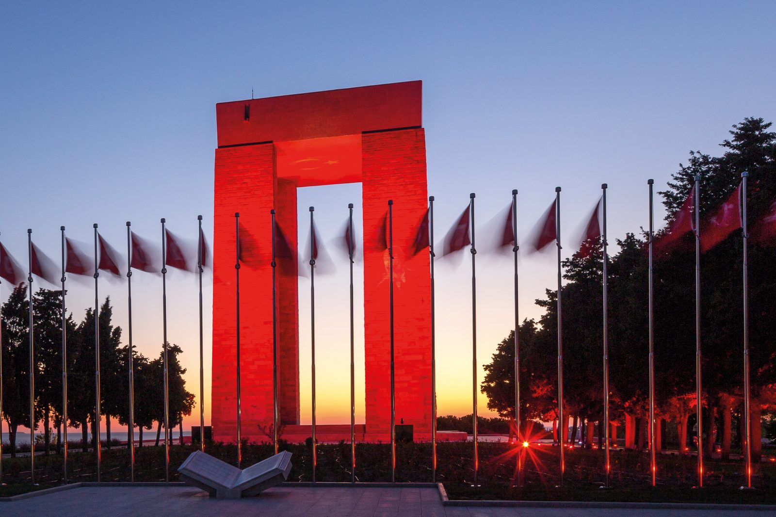 The sunset illuminates the Turkish Martyrs' Memorial at Şehitler Abidesi, near Morto Bay at the southern end of the Gallipoli Peninsula. It commemorates the service of the quarter of a million Turks who took part in the battle in 1915, and is one of the powerful reminders to foreign visitors that there is another side to the Anzac story.