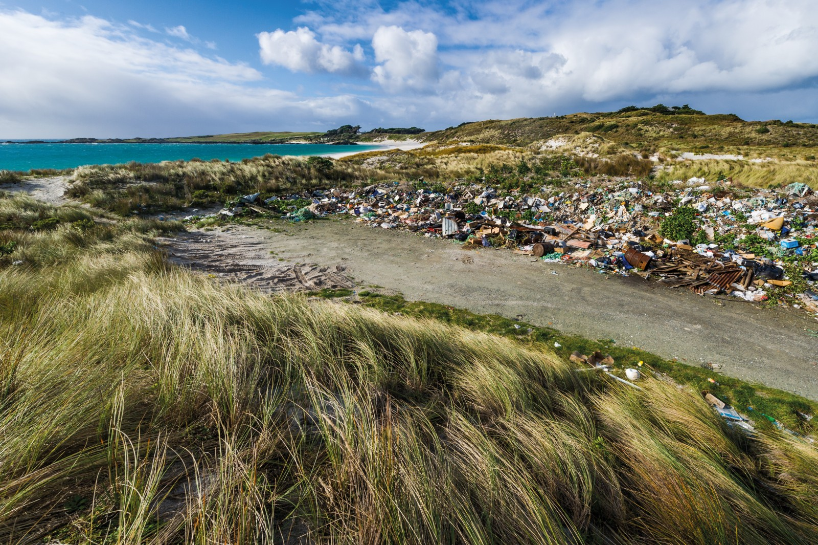 For now, waste management on Chatham Island, the largest in the Chatham Islands group, means leaving it in a heap behind the dunes of Kaingaroa, at the skittish whim of the southerly. The islands' council is gradually implementing a waste management strategy that will see landfill and septic disposal facilities brought up to current health and environmental standards.