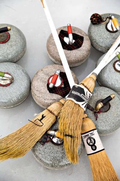 Brushes, or brooms, are used to 'sweep' the ice in front of a curling stone. This heats and melts the ice, reducing the friction between it and the stone.