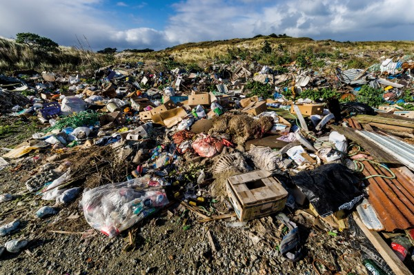 "Sheep carcasses, fishing ropes and domestic detritus decay in stinking dump sites around Chatham Island. The dumps have been ""the bane of our lives"", says mayor Alfred Preece, but recently the island council built a new landfill and three transfer stations to alleviate the problem."